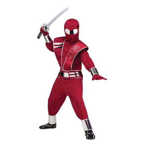 Boys Red Mirror Ninja Child Costume for Oriental Fancy Dress Kids Childs